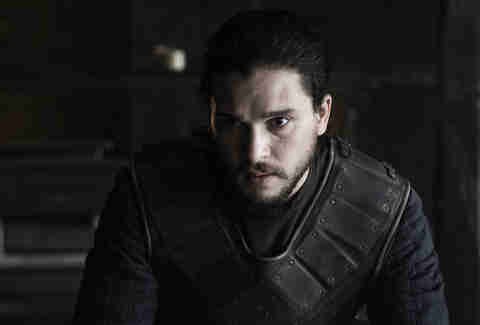 Kit Harington as Jon Snow, leaning in