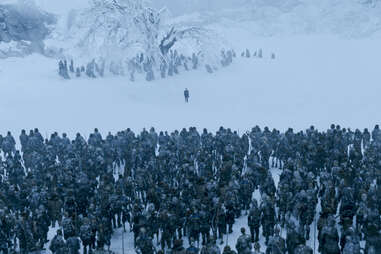 The White Walkers and their wights surround Isaac Hempstead Wright as Bran.