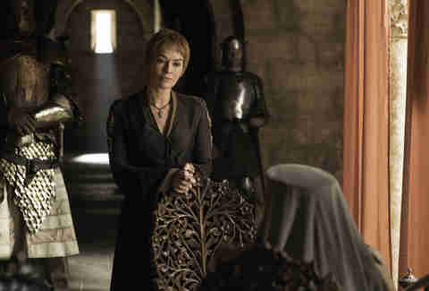 Lena Headey as Cersei Lannister speaks to Diana Rigg as Olenna Tyrell