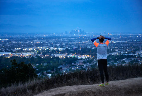 Runner surveys L.A. skyline