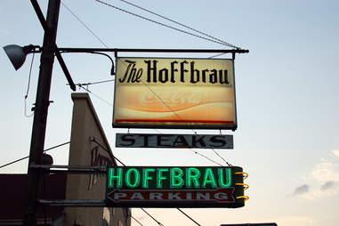 The sign for Hoffbrau Steaks