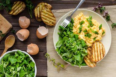 Green Salad with soft scrambled eggs