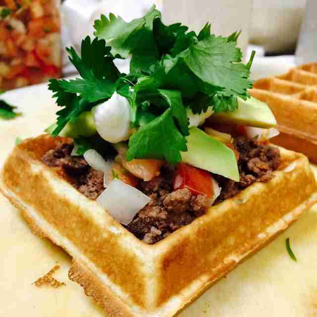 Waffle-based food item at Fud at Salud