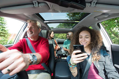 group of people riding together in car using blablacar