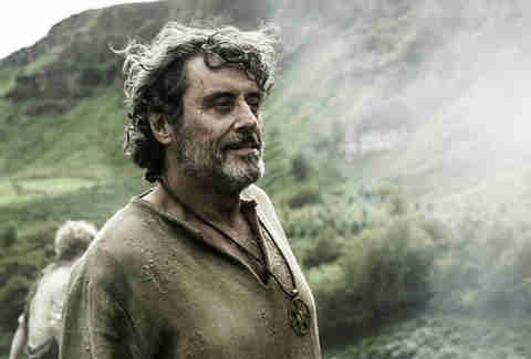 Ian McShane plays Brother Ray, a peaceful holy man serving the new gods of the Seven, who nurtures Sandor Clegane back to health