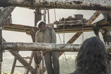 Ian McShane's character Brother Ray dies at the end of The Broken Man, galvanizing the Hound back to violence