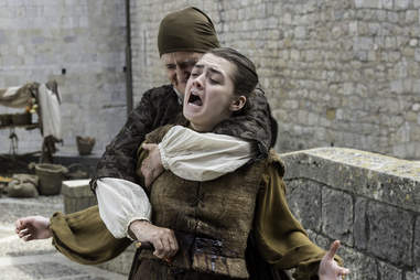 The Waif played by Faye Marsay, stabs Arya Stark, played by Maisie Williams
