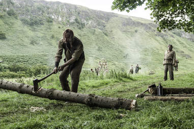 The Hound chops wood for Ian McShane's character Brother Ray
