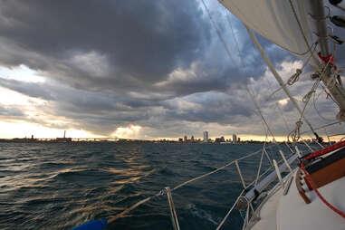 Lake Michigan with Milwaukee at horizon