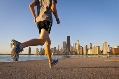 runner by lake in chicago