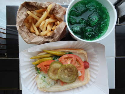 Chicago green river soda, hot dog, and french fries