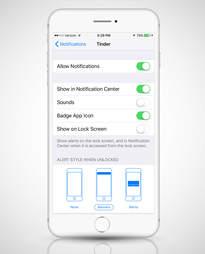 notifications menu in iOS 9