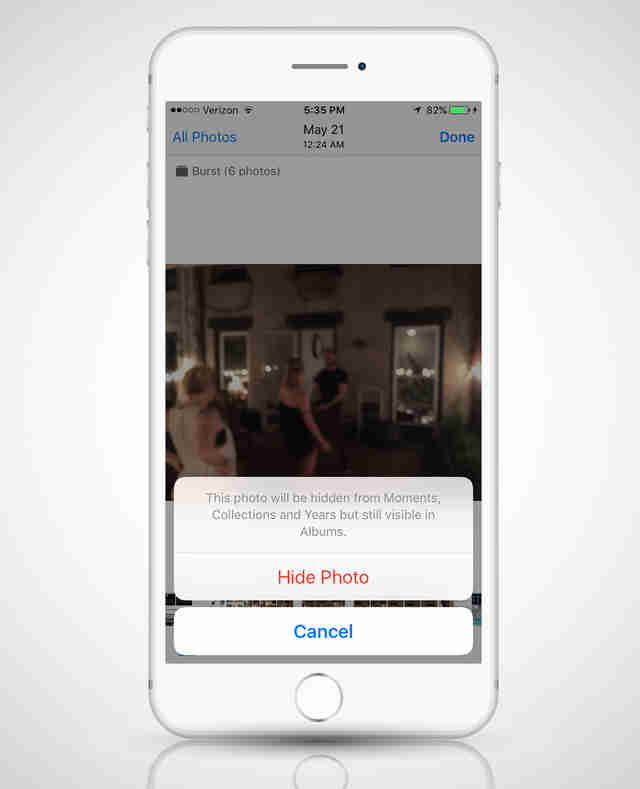 hiding photos in iOS 9 on an iPhone