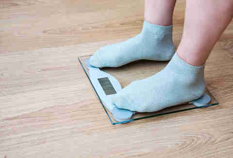 bathroom scale weighing