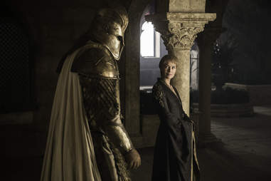 Lena Headey as Cersei Lannister stands ready to sic Ser Robert Strong, aka Gregor Clegane, on the Faith Militant