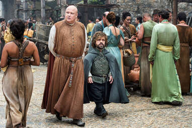 Conleth Hill as Varys and Peter Dinklage as Tyrion Lannister walk the streets of Meereen in episode 8, No One
