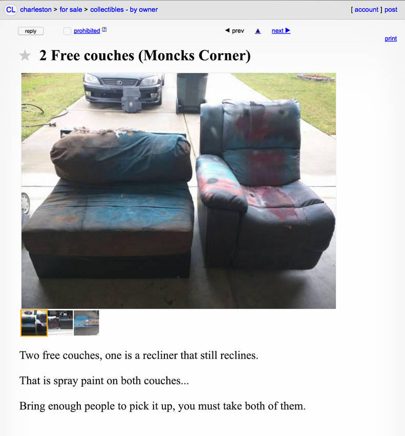 Funny Craigslist Ads In Charleston South Carolina Thrillist Craigslist provides local classifieds and forums for jobs, housing, for sale, services. charleston south carolina