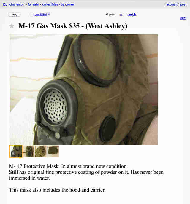 A Craigslist advertisement for a used gas mask.