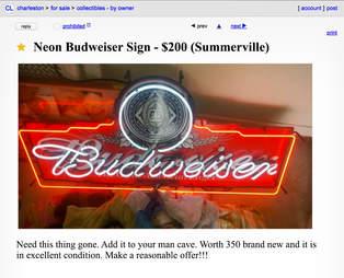 A Craigslist advertisement for a neon Budweiser sign.