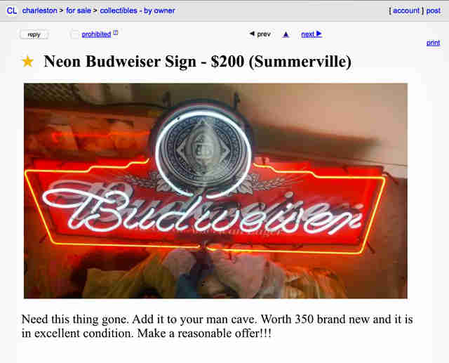 A Craigslist advertisement for a neon Budweiser sign.