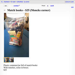 A Craigslist advertisement for matchbooks.