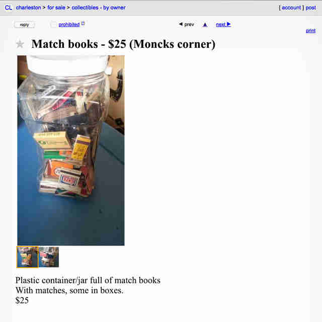 A Craigslist advertisement for matchbooks.