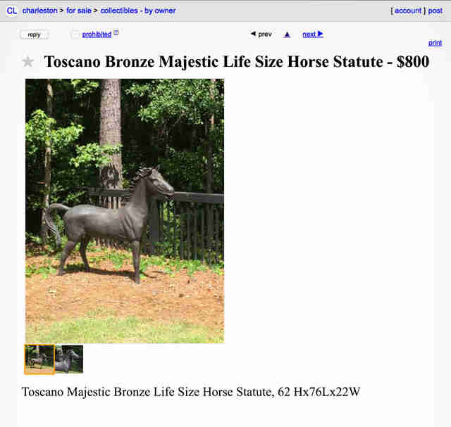 A Craigslist advertisement for a life-size horse sculpture.