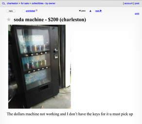 A Craigslist advertisement for a broken soda machine.