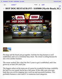 A Craigslist advertisement for a hot dog restaurant.