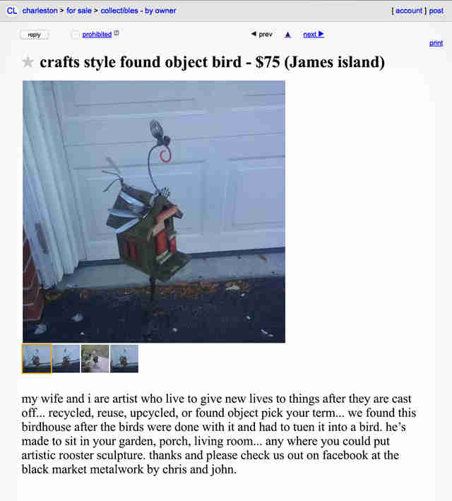 A Craigslist advertisement for a bird feeder.