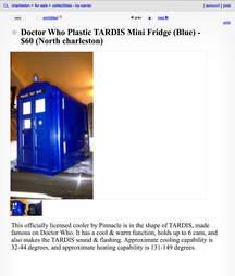 A Craigslist advertisement for a TARDIS cooler.