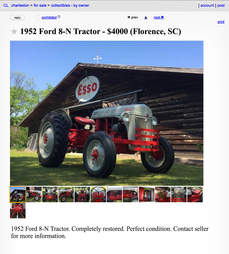 A Craigslist advertisement for an antique tractor.