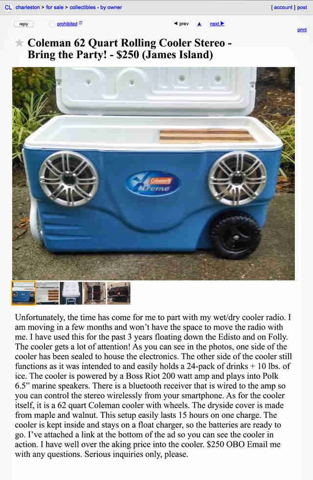 A Craigslist advertisement for a combo cooler/stereo.