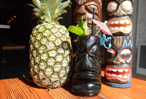 Tiki drinks and a pineapple