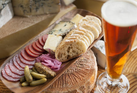 beer and cheese plate