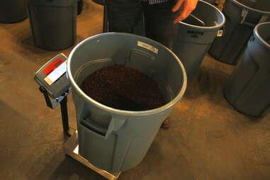 Weighing final step in coffee roasting process