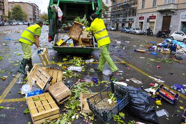 Overflowing garbage truck
