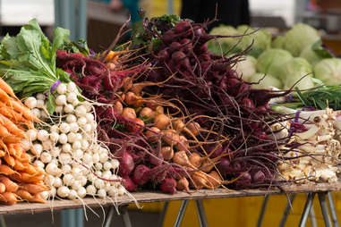 Root vegetables at the farmer's market