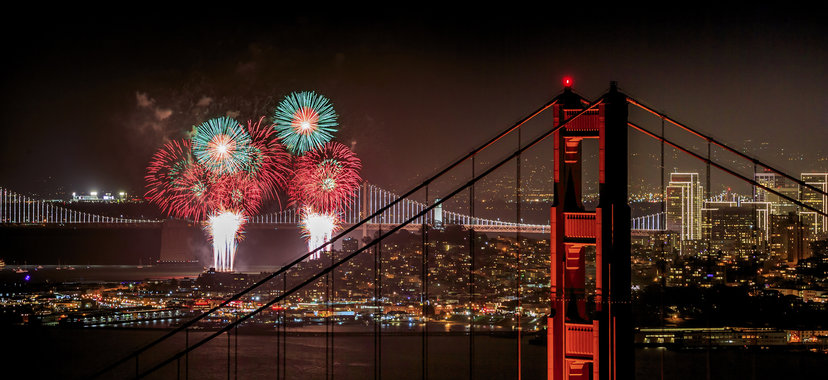 Fireworks and the Golden Gate Bridge