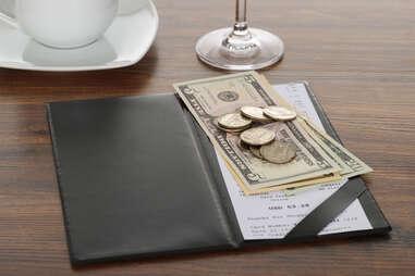 Cash Check at a restaurant