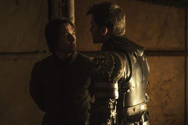 Nikolaj Coster-Waldau delivers Jaime Lannister's iconic catapults speech to Edmure Tully played by Tobias Menzies