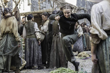 Faye Marsay as the Waif who tries to kill Arya Stark played by Maisie Williams