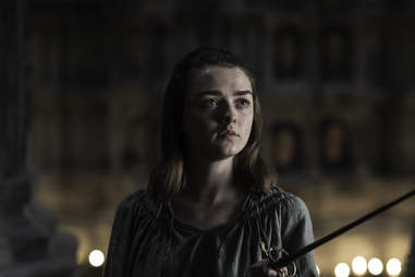 Maisie Williams as Arya Stark telling Jaqen that she's going home to Winterfell