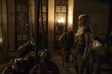 Emilia Clarke as Danaerys Targaryen returning to Meereen