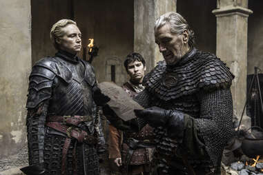 Gwendolyn Christie as Brienne of Tarth, Clive Russell as Brynden Tully the Blackfish, and Daniel Portman as Podrick