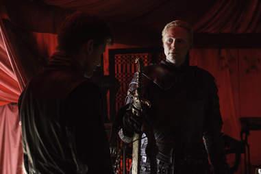 Gwendolyn Christie as Brienne of Tarth and Nikolaj Coster-Waldau as Jaime Lannister