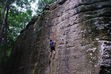 Rock climbing in Jackson Falls