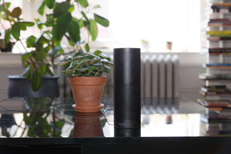amazon echo on coffee table in living room