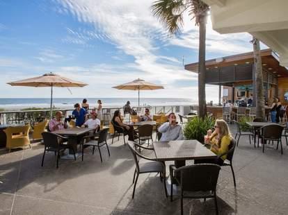 The patio at BLU Restaurant