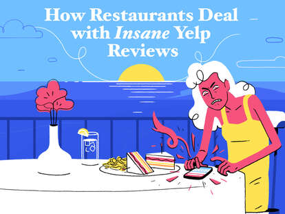 illustration of an angry woman reviewing restaurant